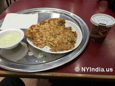 Chandni Restaurant NYC Gobi Paratha © nyindia.us