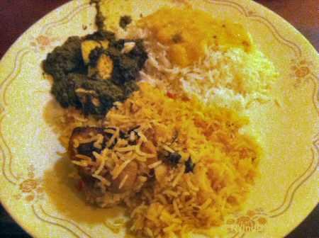 touch of india chicken biryani, saag paneer © nyindia.us